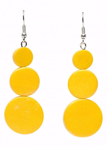 ELK '3 DISC' DROP EARRINGS YELLOW