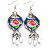 SUGAR 'TIBETAN EMBROIDERED FLOWER' EARRINGS BLUE