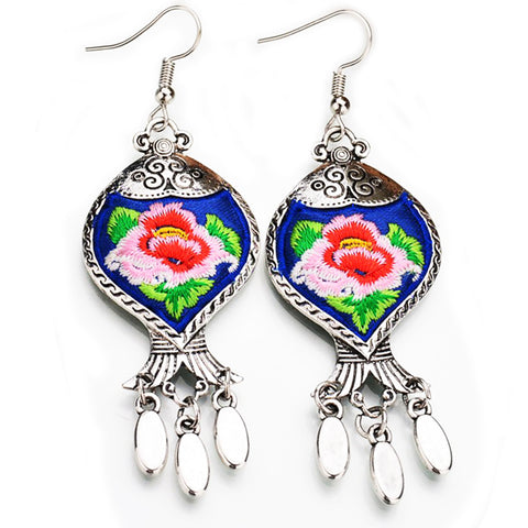 boho earrings 'embroidered tibetan flower' blue