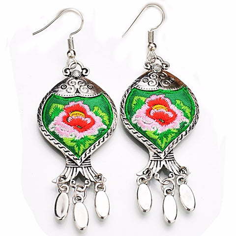 boho earrings 'embroidered tibetan flower' green