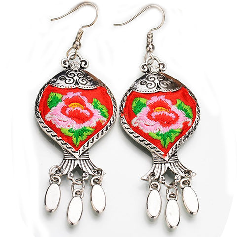 boho earrings 'embroidered tibetan flower' red