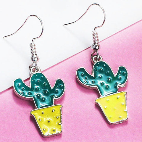 sugar earrings 'enamel cactus' yellow pot