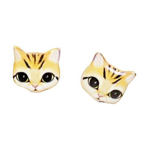 sugar earrings enamel 'big eye cat' ginger tabby