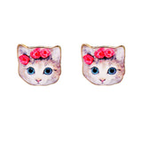 sugar earrings enamel '3 pink flowers cat' studs