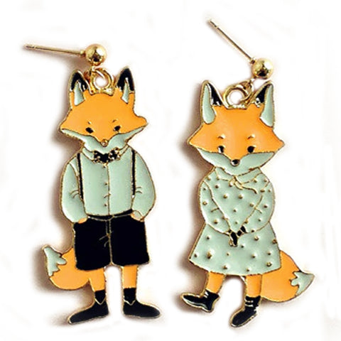 sugar earrings enamel 'mr & mrs fox' stud drops
