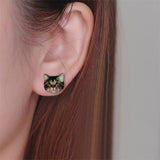 sugar earrings enamel 'blue eyed cat' studs