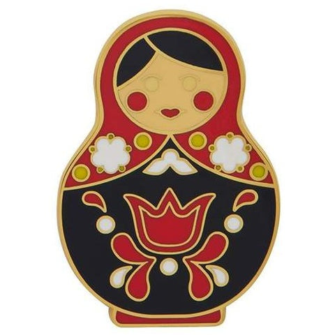 erstwilder enamel pin 'matryoshka memories' red large