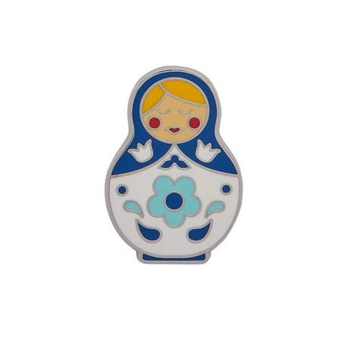 erstwilder enamel pin 'matryoshka memories' blue medium