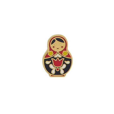 erstwilder enamel pin 'matryoshka memories' red small
