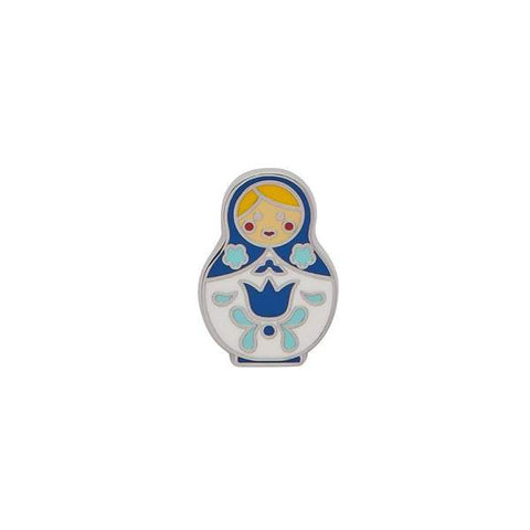 erstwilder enamel pin 'matryoshka memories' blue small