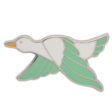 erstwilder enamel pin 'dancing duck' green