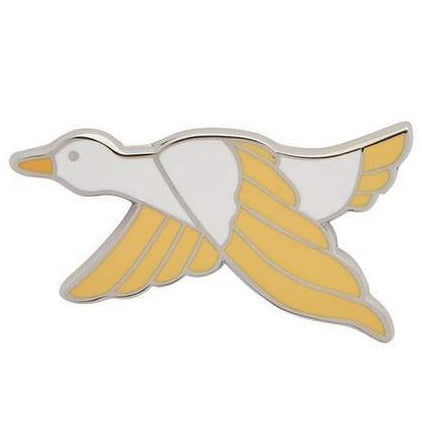 erstwilder enamel pin 'dancing duck' yellow