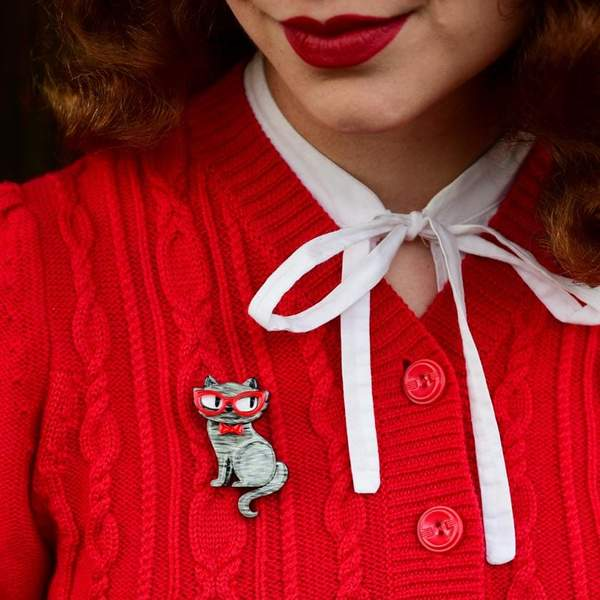 erstwilder brooch 'elissa the indie cat' mini