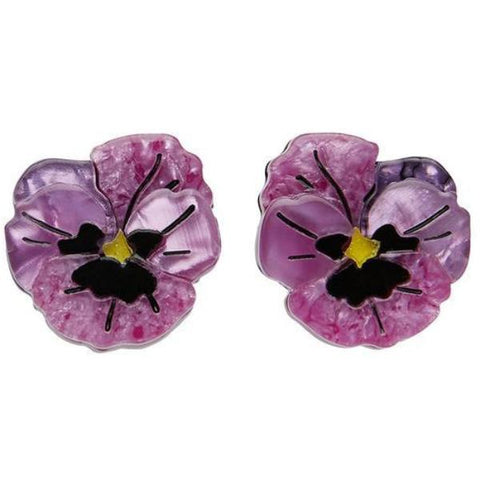 erstwilder earrings 'on sleeping eyelids pansy'