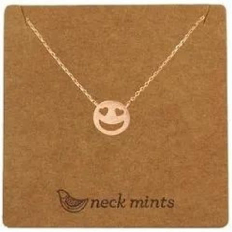 mints necklace 'brushed heart eye emoji' rose gold