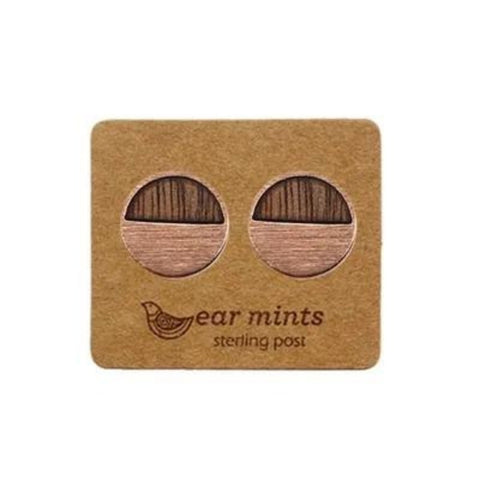 mints earrings 'brushed half moon wood' rose gold