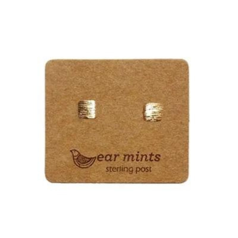 mints earrings 'brushed cube' gold