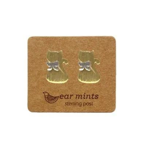 mints earrings '2 tone cat' gold