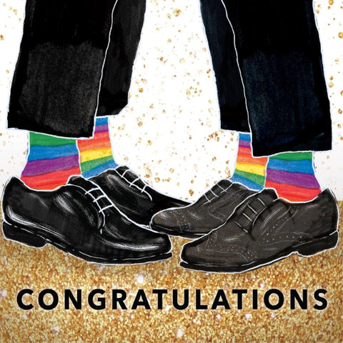 la la land greeting card 'congratulations two grooms'