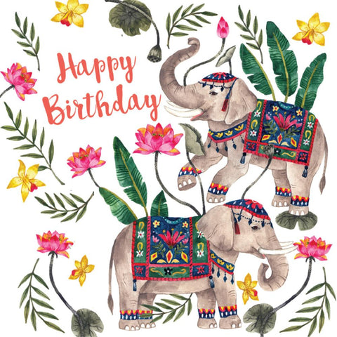 la la land greeting card 'birthday elephants'