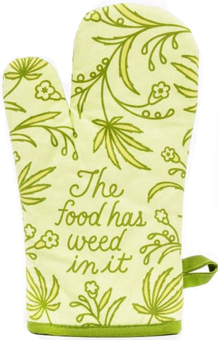 blue q oven mitt 'the food has weed in it'