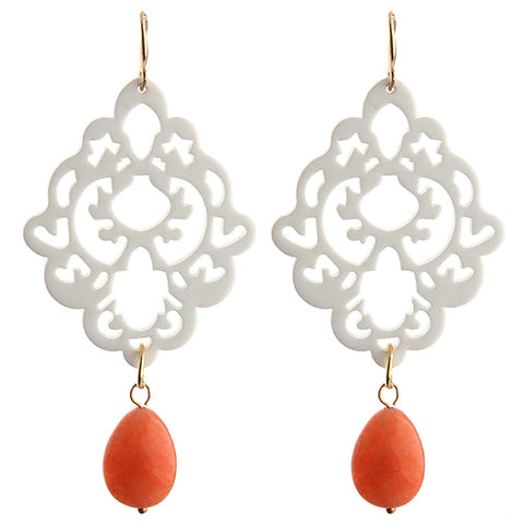 sugar earrings 'filigree with teardrop bead dangles' white & orange