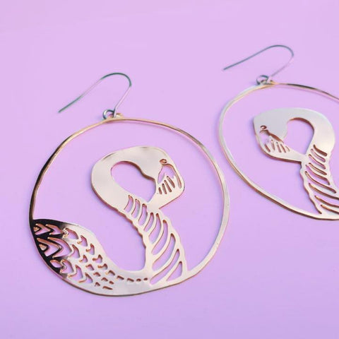 denz & co. earrings 'flamingo dangles' rose gold