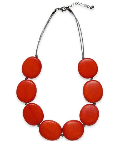 elk necklace 'flat round disc' red
