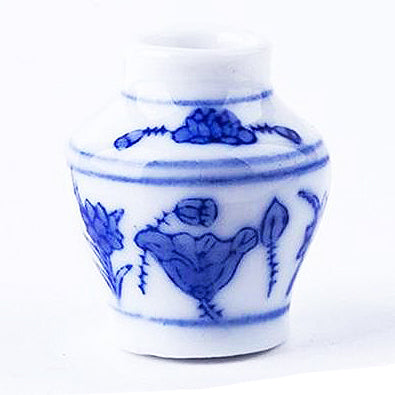 miniature ceramic vase 'blue & white floral/stripes'