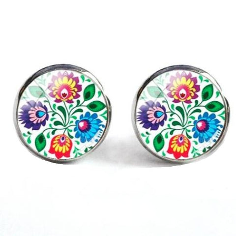 sugar earrings glass dome 'folk art floral on white' studs - the-tangerine-fox