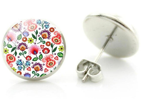 sugar earrings glass dome 'folk art flowers small floral white' studs