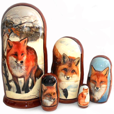 russian babushka dolls 5 set 'foxes' large