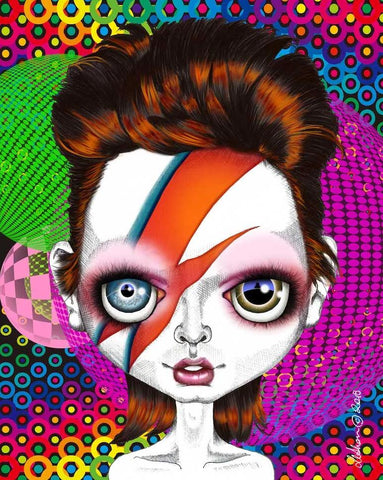 fox & dollbaby art print 'ziggy stardust' with mount