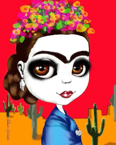 fox & dollbaby art print 'frida kahlo' with mount - the-tangerine-fox