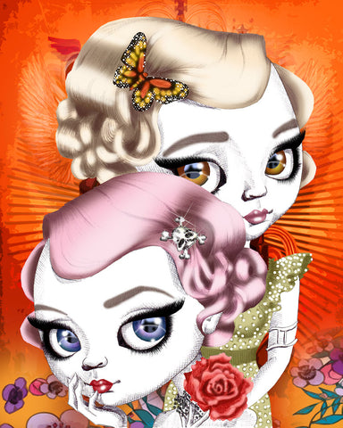 fox & dollbaby art print 'gemini' with mount