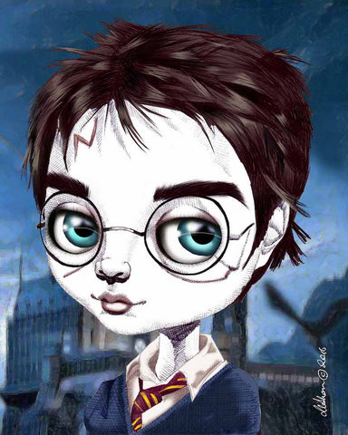 fox & dollbaby art print 'harry potter with mount'