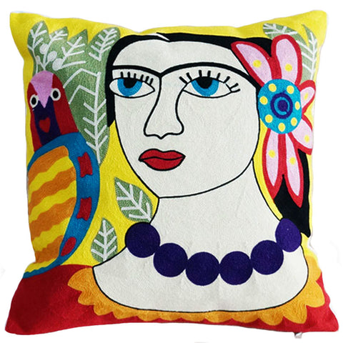 cushion cover 'embroidered frida with bird'