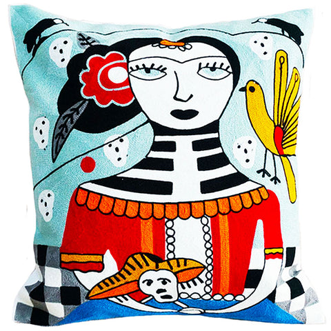 cushion cover 'embroidered frida with skull' - the-tangerine-fox