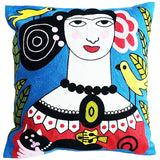 cushion cover 'embroidered frida with black cat'