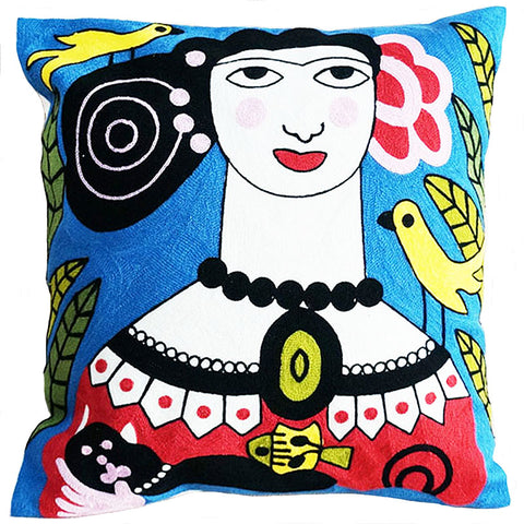 cushion cover 'embroidered frida with black cat' - the-tangerine-fox