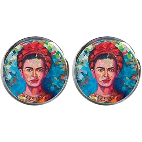 sugar earrings glass dome 'frida with red hair scarf' studs
