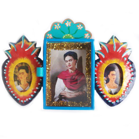 MEXICAN FOLK ART 'FRIDA WITH 3 FACES' TIN NICHO