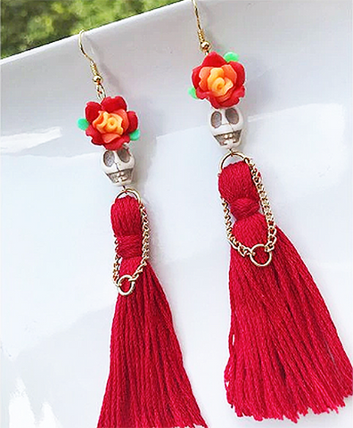 mexican earrings 'skull beads with red tassel dress'