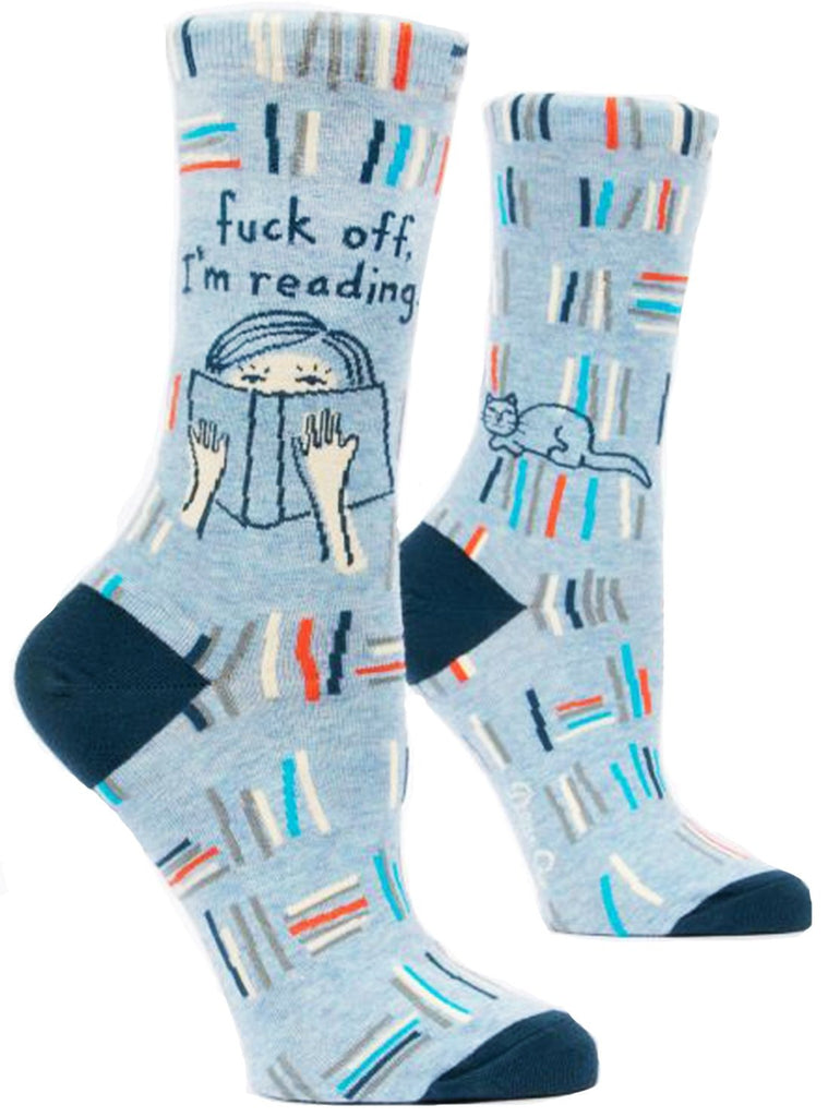 blue q women's socks 'f*ck off i'm reading'