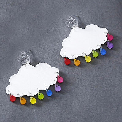 sugar earrings resin 'acrylic glitter rain clouds'