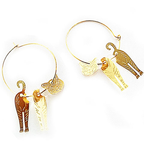 sugar earrings 'moving cat' gold hoops - the-tangerine-fox