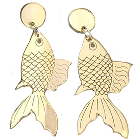 sugar earrings 'gold fish' acrylic gold