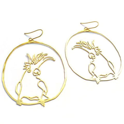 denz & co. earrings 'cocky dangles' gold