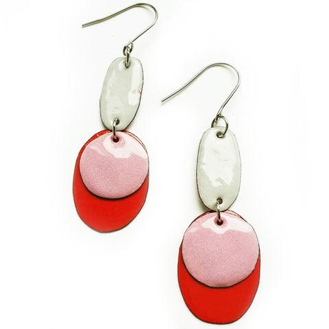 denz & co. earrings copper enamel 'red, pink & grey'