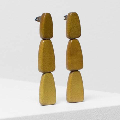 elk earrings 'gruva drop' yellow
